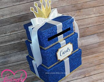Cardbox   Glitter Gold and Royal Blue Gift Money Box for Any