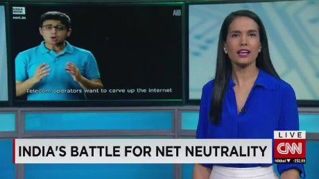 Kristie Lu Stout speaks to a member of the Indian comedy group highlighting net neutrality