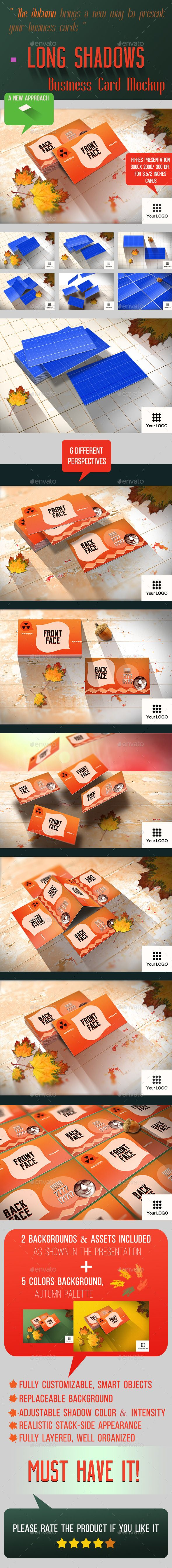 Long Shadows Business Card Mockup