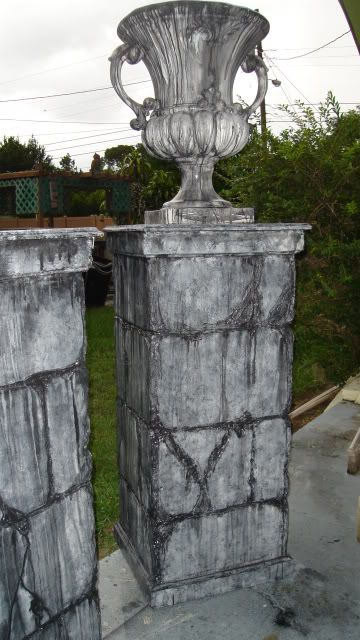 could do simple columns like this to flank cemetery entrance so that we could put weeping angel or other statues in front of pillars columns for the - Cemetery Halloween Decorations