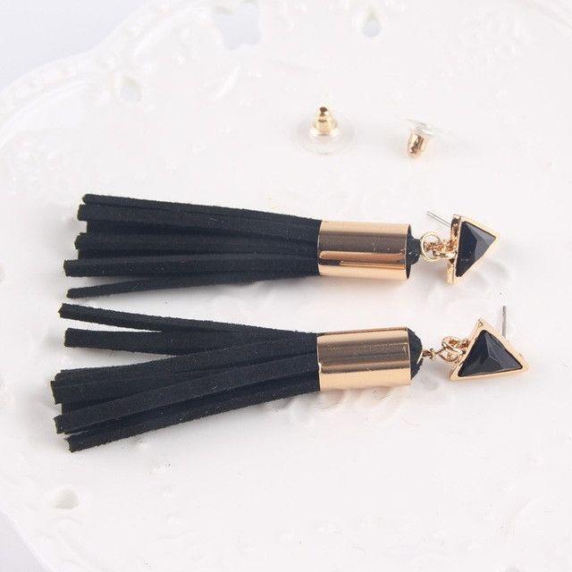 Vintage Triangle Tassel Drop Earrings Faux Suede Fabric Long Dangle Earrings for Women 2A3006