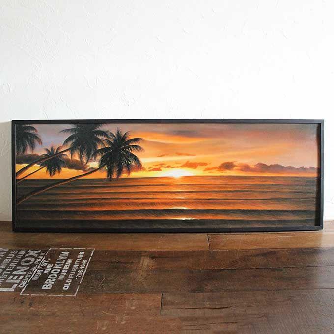 バリ島 海の絵 海 夕日 サンセットビーチ W153×H53 絵画 インテリア バリアート