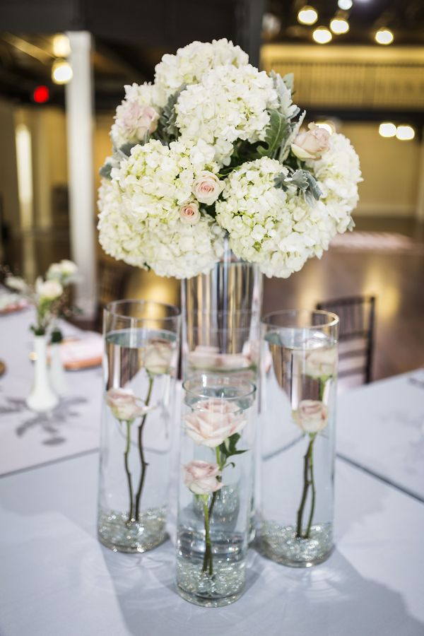 Hydrangea Centerpieces || Ivory Hydrangea Centerpieces || Love By A Letter, A Virginia Styled Shoot at the Historic Post Office
