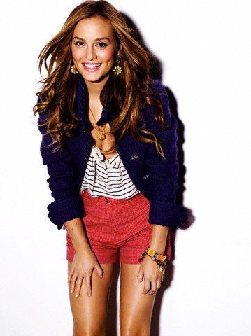 Love her style-Red shorts, Navy striped shirt & Navy blazer