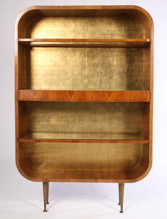 ITALIAN MID CENTURY OPEN DISPLAY BOOKCASE BRONZE LEGS : Lot 105