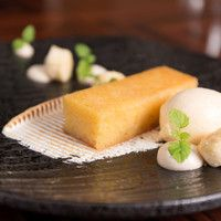Sticky Lemon Polenta with almond and scorched butter milk ice cream.
