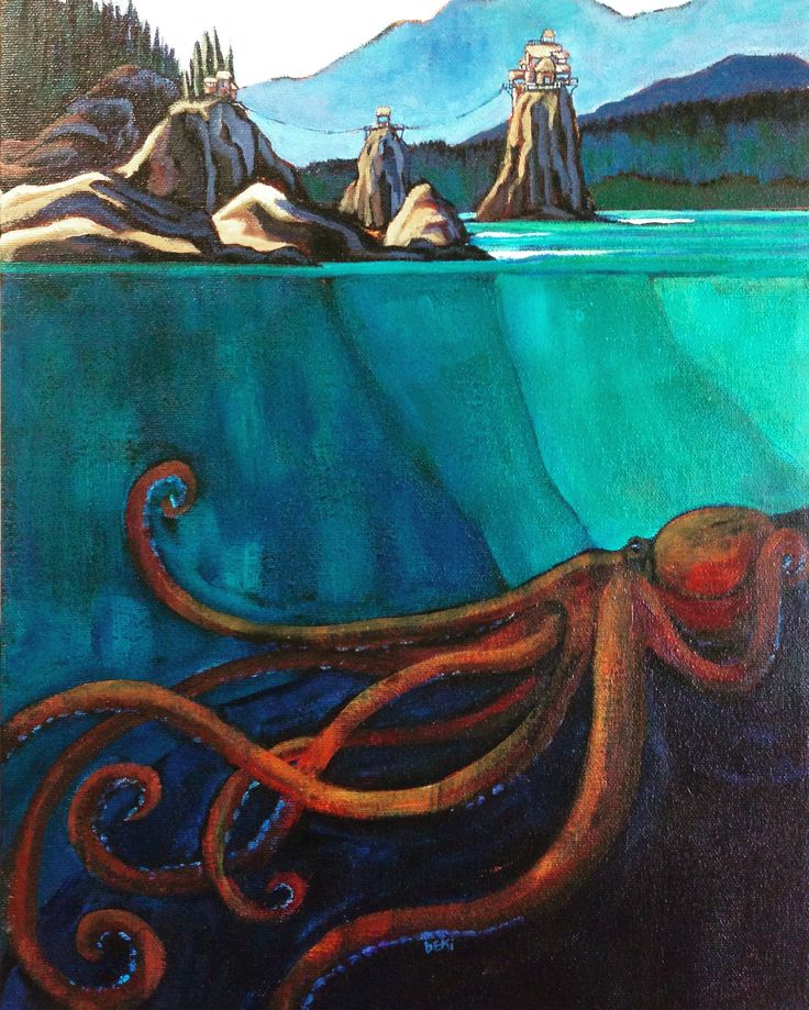 """realm of the cephalopod"" 11x14"" acrylic on canvas"