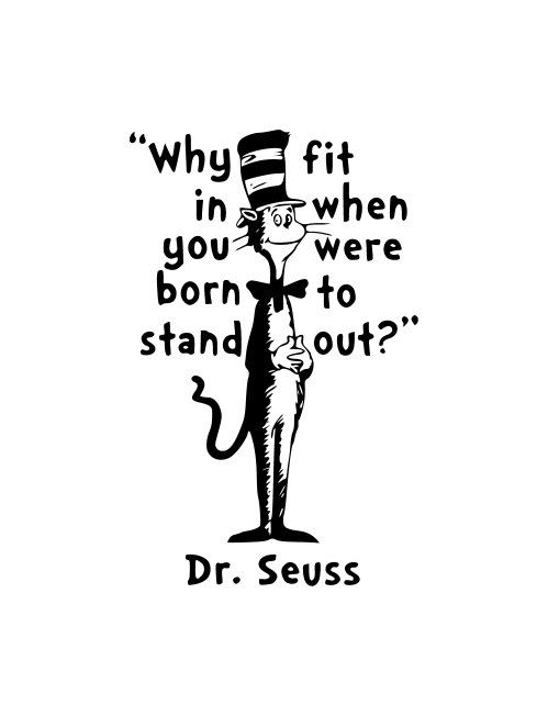 Why Fit in Dr. Suess  Vinyl Wall Art by DTPCreations on Etsy, $16.50