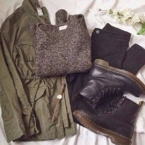 Military jacket with grey sweater, black skinnies, and black combat boots (Dr. Martens)