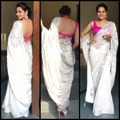 gorgeous white saree or sari with pink blouse