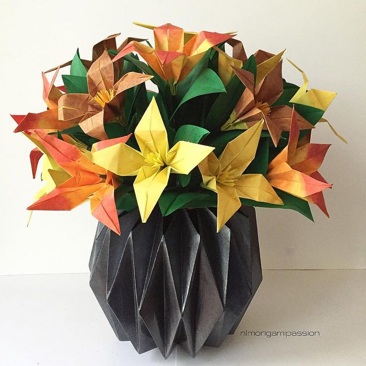 482 best origami images on pinterest paper crafts origami paper origami lily flower arrangement in origami vase mightylinksfo