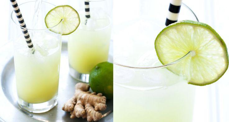 Läskande drink med ingefära och lime