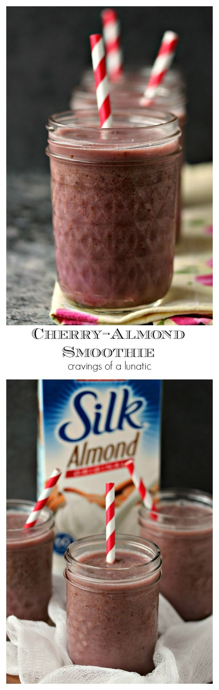 Cherry Almond Smoothie- Start your morning off right with a refreshing smoothie packed with cherries and almond milk. @lovemysilk