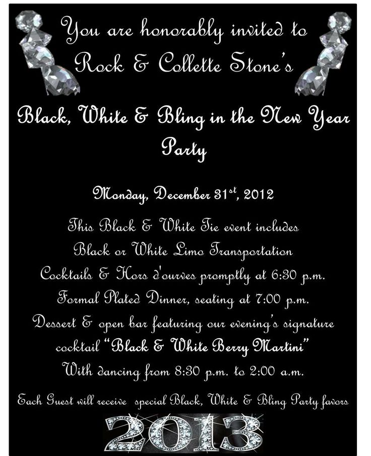 76 best images about Party theme black white and bling party on – Black and White Themed Party Invitations