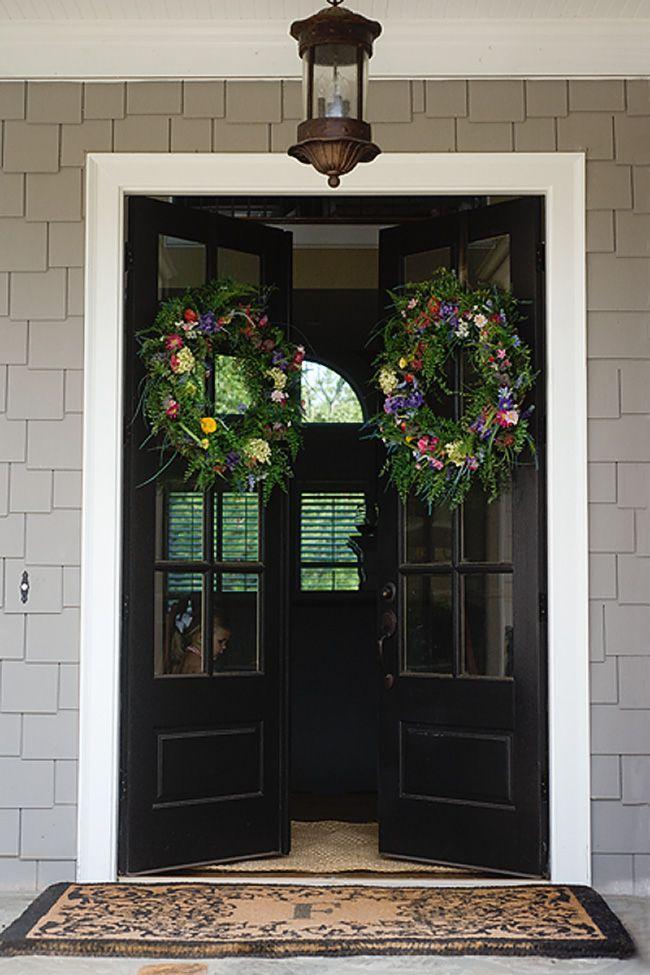 Best 25 black front doors ideas on pinterest black door for Exterior french doors with side windows