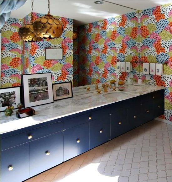 Marine Blue cabinets with center knobs.: Bathroom Design, Floral Wallpapers, Lights Fixtures, Granny Chic, Bedrooms Design, Design Interiors, Design Bedrooms, Bedrooms Decor, Bathroom Wallpapers
