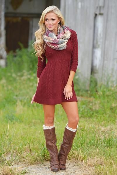 You have no doubt that they're going to love you, and they'll love you even more when you show up in this classycable knit sweater dress! Pairs perfectly with