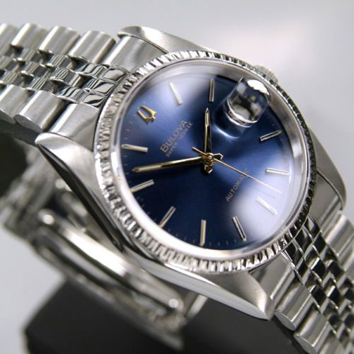 17 best images about vintage bulova men s watch bulova super seville date automatic circa 1990 blue dial swiss made mens watches