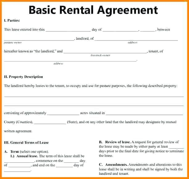 Basic Rental Agreement Template Lease Agreement Free Printable Rental Agreement Templates Lease Agreement
