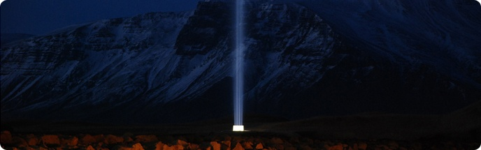 The Imagine Peace Tower is an outdoor work of art conceived by Yoko Ono in memory of John Lennon. It is situated on Viðey Island in Reykjavík, Iceland. Every year the Imagine Peace Tower emerges an hour after sunset between 9 October (Lennon's day of birth) and 8 December (Lennon's demise). In addition the Imagine Peace Tower emerges for one week on winter solstice, on New Year's Eve and for one week during spring equinox and few other selected dates.  www.netkaup.is