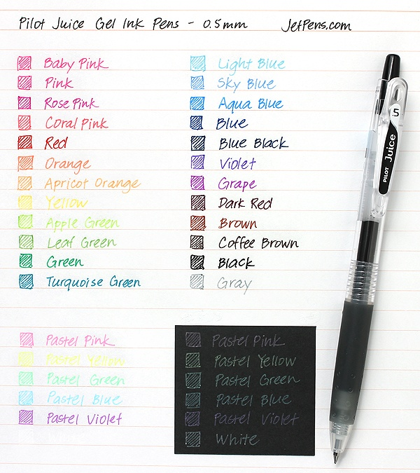 Pilot Juice Gel Ink Pens - 0.5 mm http://www.jetpens.com/Pilot-Juice-Gel-Ink-Pens/ct/1711