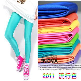 Frete Grátis, chegam novas dos anos 80 Moda brilhantes de néon metálicas Mulheres elétricas coloridas Leggings doces Cor calças justas Calças, 18 cores