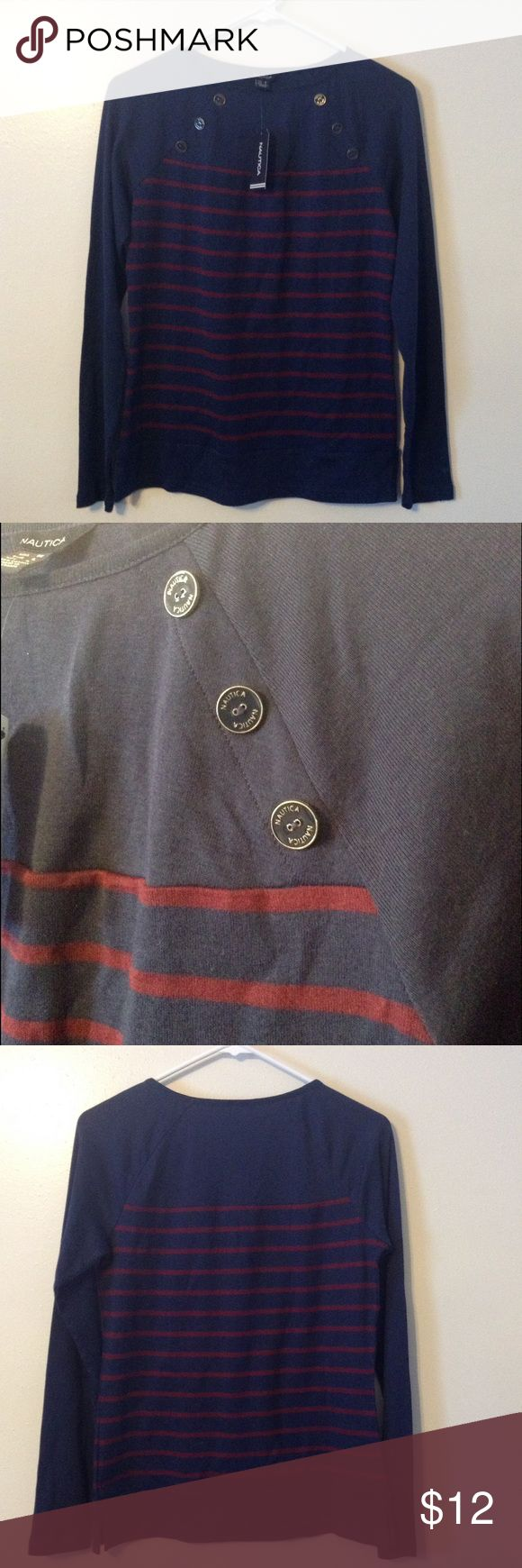 Nautical sailor striped tee New with tags. Great with shorts or a skirt. Nautica Tops Tees - Long Sleeve