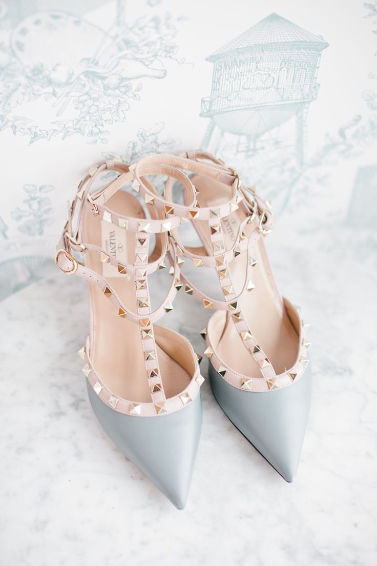 Gray pointed toe studded Valentinos: Shoes: Valentino - http://www.stylemepretty.com/portfolio/valentino-4 Photography: Isabelle Selby Photography - http://www.stylemepretty.com/portfolio/isabelle-selby-photography   Read More on SMP: http://www.stylemepretty.com/2015/05/19/chic-brooklyn-brunch-wedding/