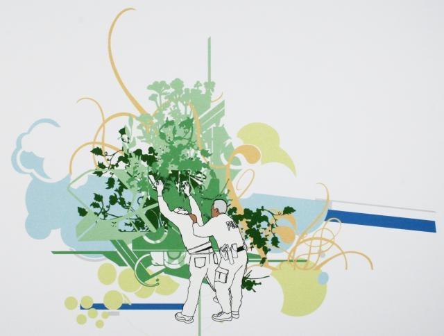 Miguel AragonPastos Verdes y Cielos!! Azules, 2006  Screenprint