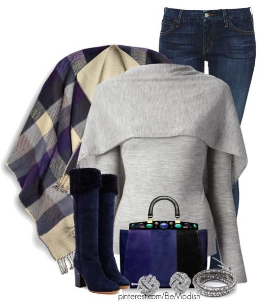 Switching up warm colours to blue & grey is a nice contrast! Fall Fashion 2014