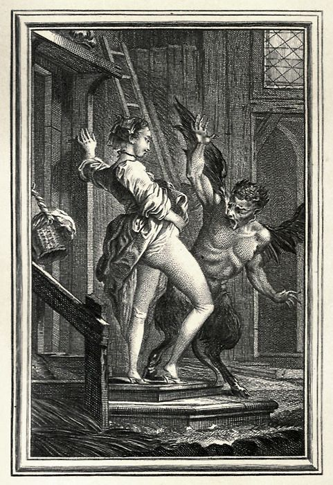 The Devil of Pope-Fig Island, illustration by Charles Eisen. From Tales and Novels in verse, by Jean de La Fontaine, vol. 2, London, 1896. Via archive.org