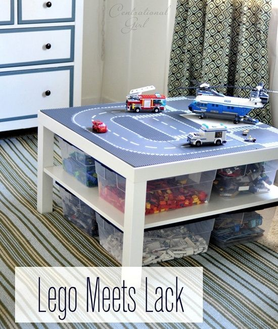 Lego table with storage ... sort of a DIY but looks like it would take all of 5 minutes to put this together (table from IKEA, storage bins and some tacky stuff to secure the Lego building plates)-  I could do this with our old coffee table!