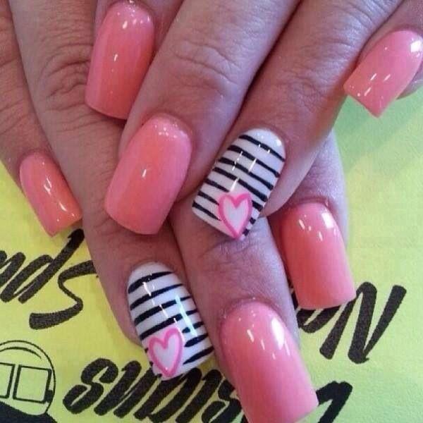 Pink &  White & Black Zebra Design Nails With A Heart Design On The Ring Finger