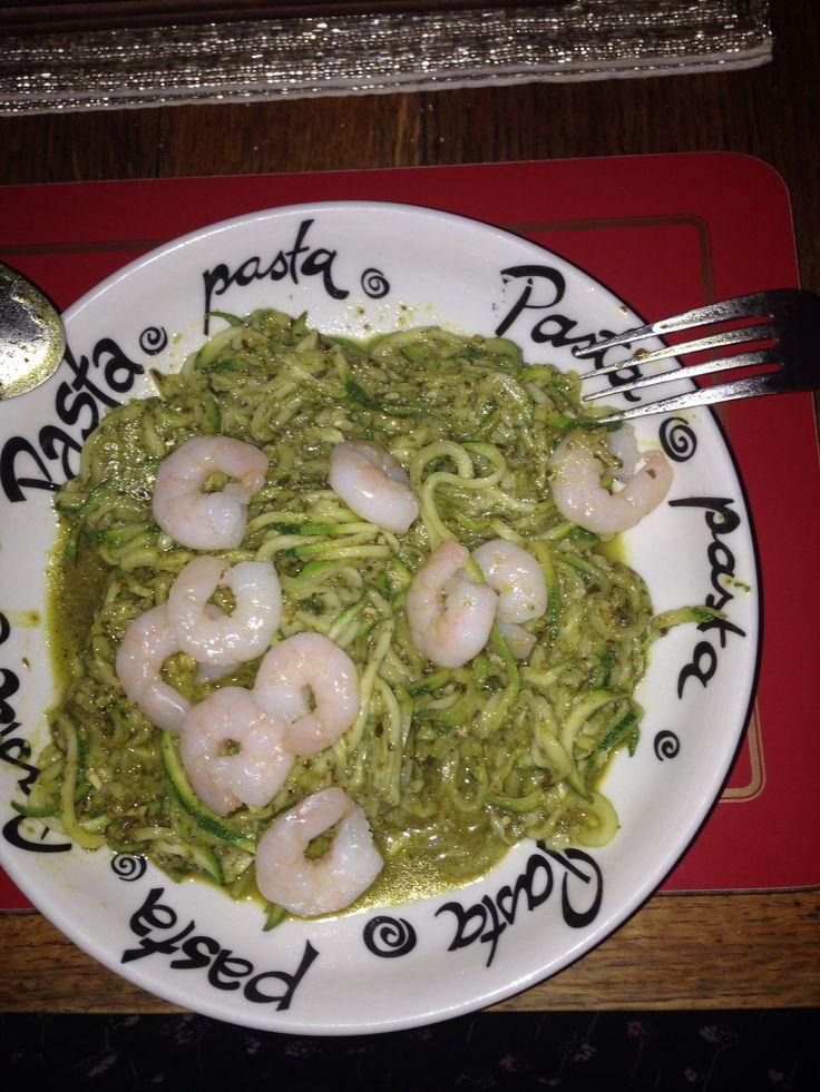 Pesto courgetti and king prawns yum!