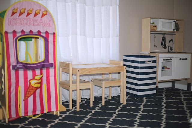 Navy & Pink Decor Child's Room Nursery Play area Ikea Kitchen table chairs Target nautical || Mohawk Home Rug Giveaway