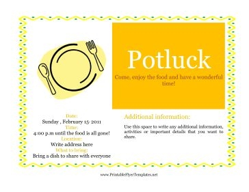 Throwing a potluck? You need a bright potluck flyer, just like this gold one! The flyer includes a picture of a plate and a zigzag border with blue dots. Put your information in the space provided and get ready for a fun potluck! Free to download and print