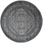 Adirondack Silver/Black 8 ft. x 8 ft. Round Area Rug