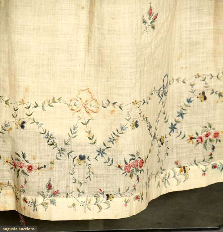 muslin wedding dress c1795. Way early, but the embroidery is just gorgeous!
