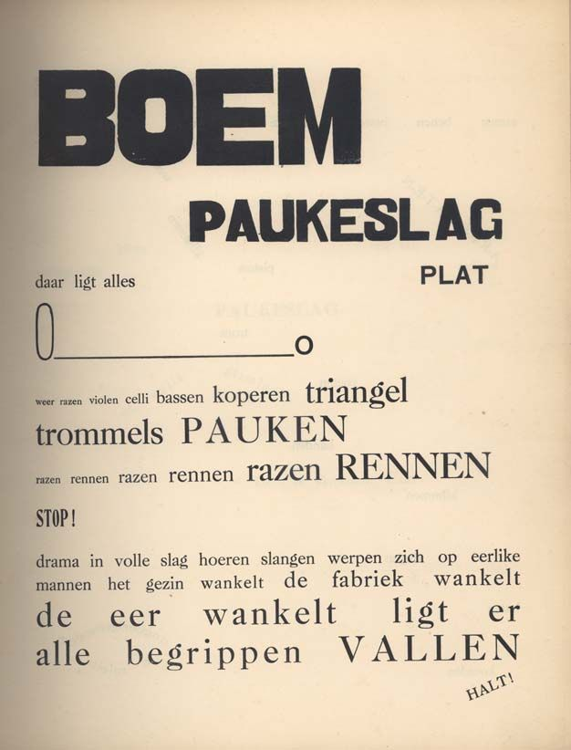 Paul van Ostaijen: Bezette stad | the typographic layout in this book was designed by the poet himself and is an expressive part of the poetry.