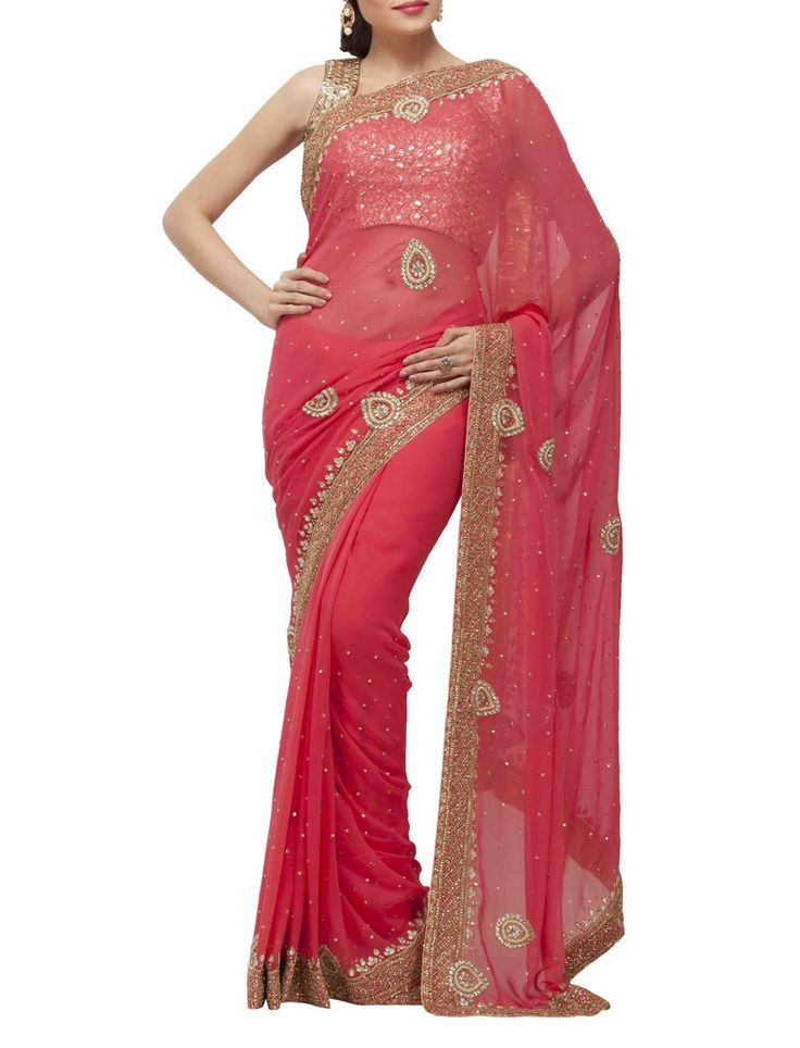 Deep amber sari with beads and sequins embroidery sarees