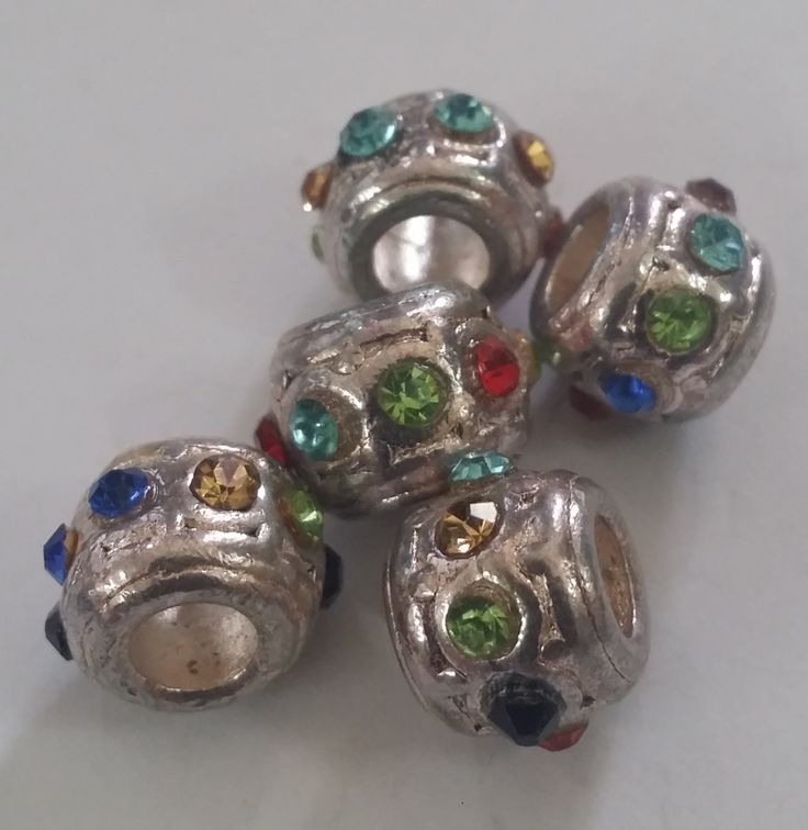 1 Multi Colored CZ Spacer Large 5 mm Hole  Beads fit European Jewelry - Only 5 available 85 by Adawnstyle on Etsy