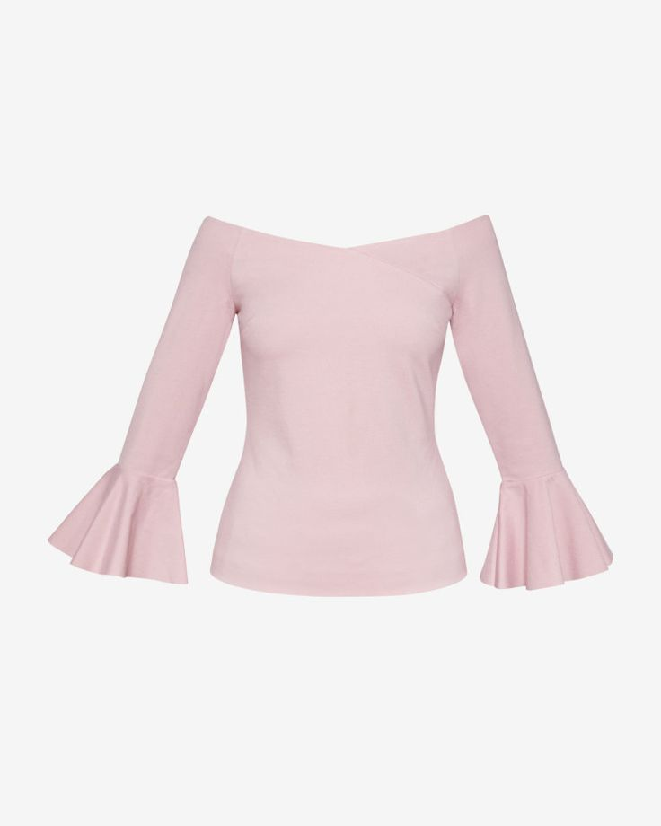 Flute sleeved Bardot top - Dusky Pink | Tops and T-shirts | Ted Baker UK