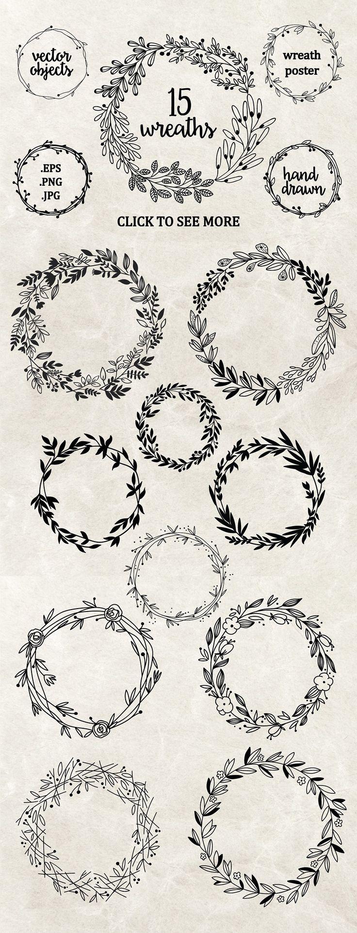 Hand drawn floral wreaths by Maria Galybina on Creative Market