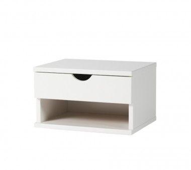 vägghängt sängbord i vit kulör