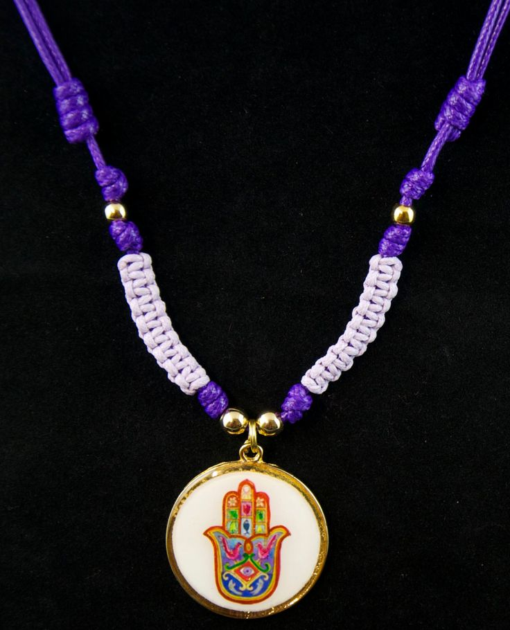 Hamsa Hand handmade pendant. Mano de Fatima. Mano de la Suerte. Purple and violet cord necklace.Gift women.Jewelry.Adjustable length. Medal by SaraBarbadillo on Etsy