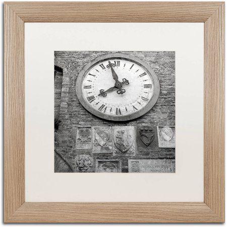 Trademark Fine Art Il Grande Orologio Iii Canvas Art by Alan Blaustein, White Matte, Birch Frame, Gray