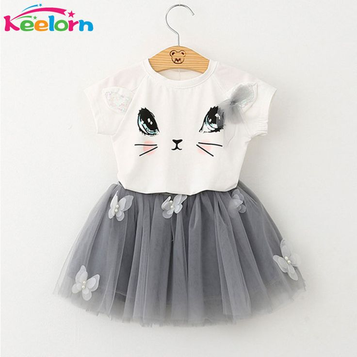 Keelorn Girls Dress 2017 Brand Kids Clothes White Cartoon Short Sleeve T-Shirt+Veil Dress 2Pcs baby girl clothes for 2-6Y