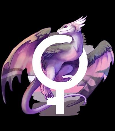 Demigirl pride dragon! Demifeminine women identify as partially - but not completely - feminine. Credit to kaenith.tumblr.com