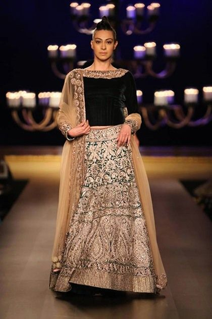 Manish Malhotra embroidered lehenga with velvet choli