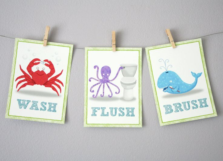 pictures of ocean theme bathrooms | Bathroom Art - Three 5 x 7 - Bathroom Decor-Under the Sea Ocean theme ...